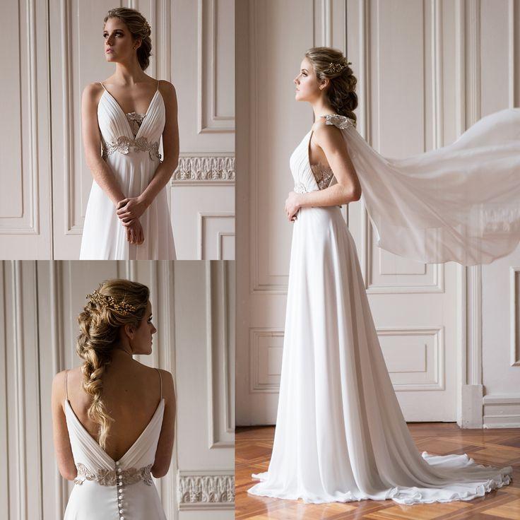 vestido de novia griego escote v · Greek wedding dress - www.santoencanto.cl/vestidos-de-novia/