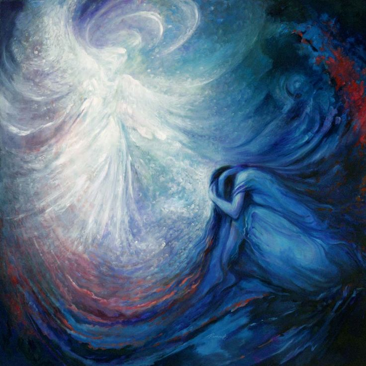 Modern spiritual surrealistic painting 'The Guardian' by Rassouli. He's an artist who paints with his heart.