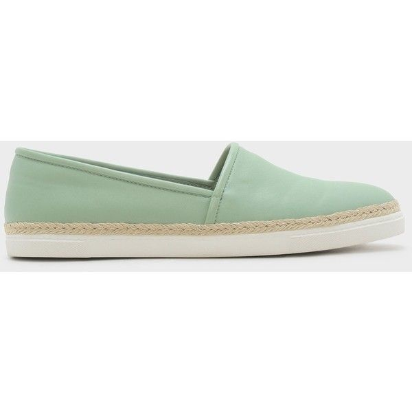 Charles & Keith COVERED PLIMSOLLS ($39) ❤ liked on Polyvore featuring shoes, sneakers, plimsoll shoes, low-heel espadrilles, slip on shoes, slip on trainers and slip-on sneakers
