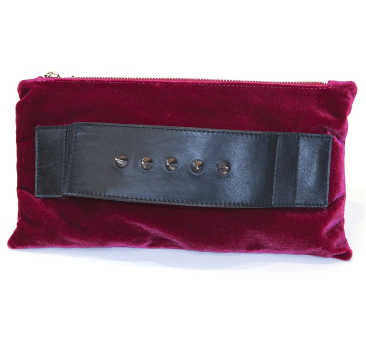 Unique velvet fabric clutch Leather front handle decorated with brass spikes Zip closure Jacquard fabric lining mimika ciboyianni  #mimika #bags