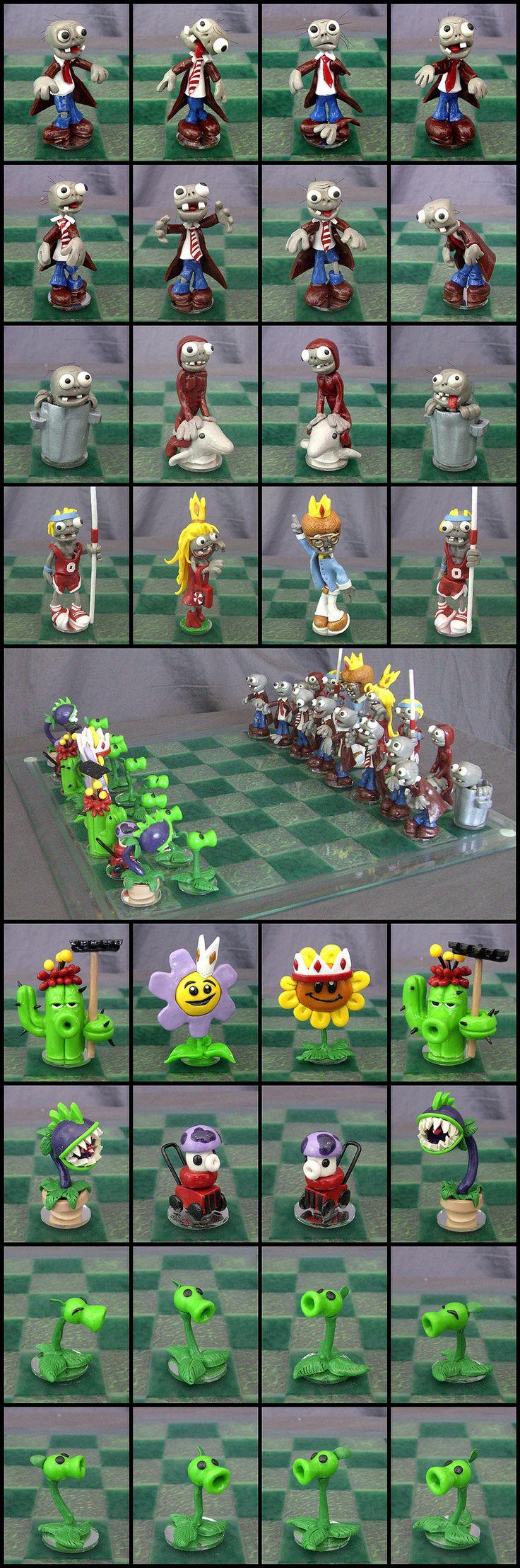 Plants Vs. Zombies Chess Set by Cyle.deviantart.com on @deviantART