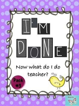 Enrichment Activities - I'm Done Teacher! The Thinking Spo