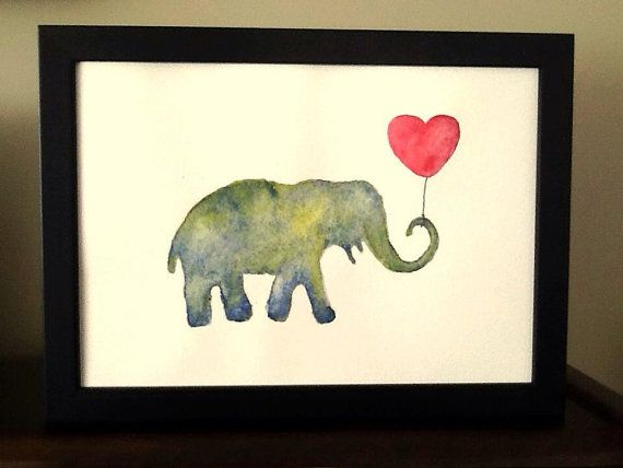 Grey/green elephant with red heart balloon. by TinkerTailorDesign