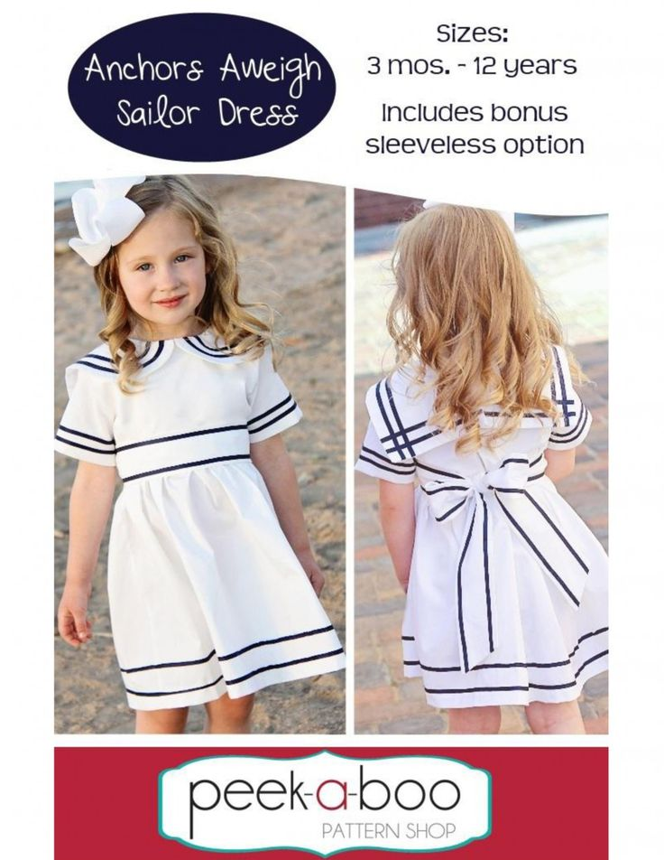 Anchors Aweigh Sailor Dress PDF Pattern 3 Months to 12 Years by Peek-a-Boo Pattern Shop via lilblueboo.com