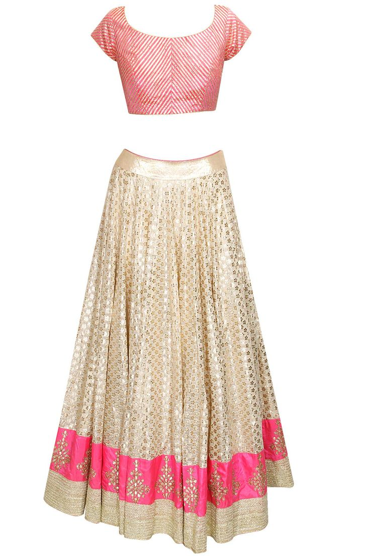 Off white gota patti embroidered lehenga set available only at Pernia's Pop-Up Shop.