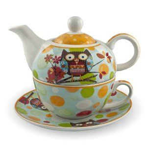 Gilde Porzellan Tee Set Owl Tea for one Teeservice Teekanne Tasse Untersetzer Eule blau orange: Amazon.de: Küche & Haushalt