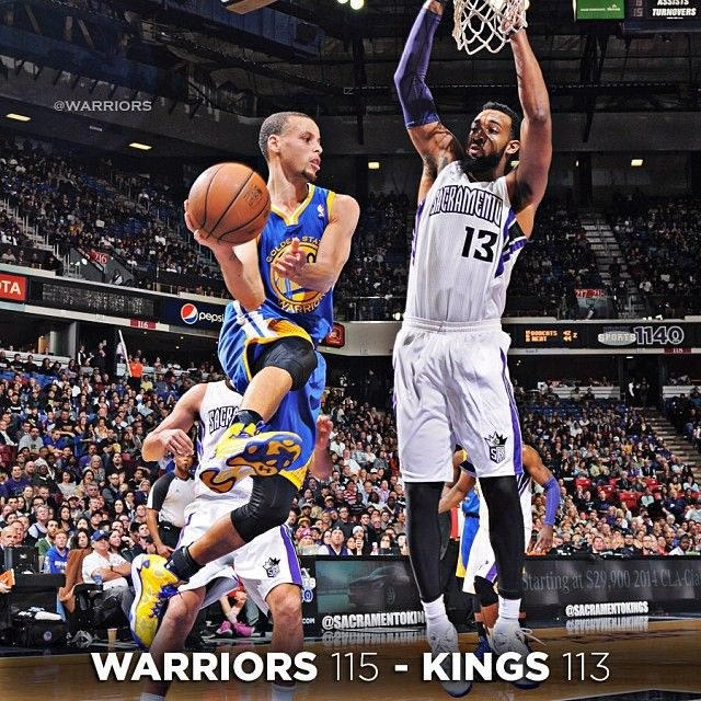 Thanks to a huge defensive stop by Andrew Bogut and some hot shooting by the #SplashBrothers, the #Warriors defeated the Kings 115 -113 Sunday evening in Sacramento. Stephen Curry (36 points, 10 assists) and Klay Thompson (28 points, career-high eight threes) combined for 13-of-19 shooting from beyond the arc. David Lee and Harrison Barnes added 11 points each, while Andrew Bogut logged another double-digit rebounding night with 12 boards.