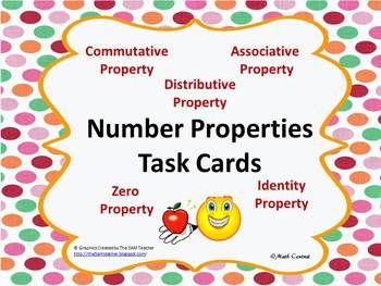 These number properties task cards are fantastic!! They include 28 cards, answer sheets, and an answer key. Your students will love working with these task cards.   My Task Cards can be used to reinforce concepts, individual student practice, pair share, early finishers, and assessment prep.