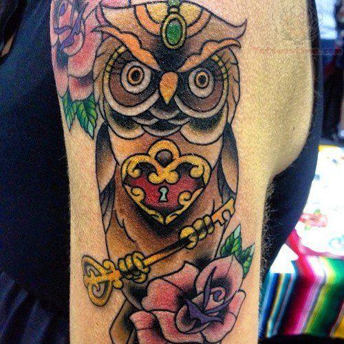 Owl With Lock Key Tattoo On Bicep