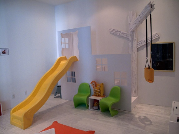 love this kid's play space: Yellow Sliding, Plays Rooms, Indoor Playhouse, Cute Ideas, Kids Plays Spaces, Rooms Ideas, Playrooms, Swings Sets, Kids Rooms