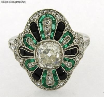 Exquisite Antique Art Deco 1 36C Cushion Cut Diamond Emeralds Onyx Platinum Ring | eBay