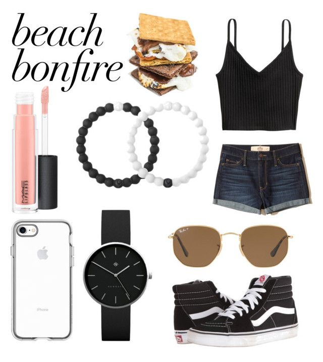 """""""Beach Bonfire"""" by itssasia ❤ liked on Polyvore featuring Hollister Co., Vans, Lokai, MAC Cosmetics, Ray-Ban and Newgate"""