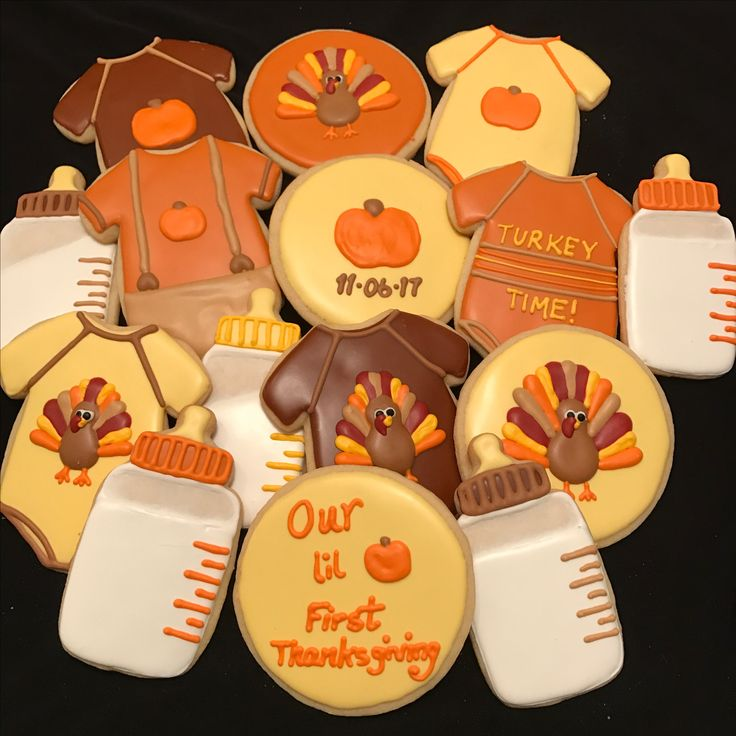 Thanksgiving Baby - Fall Baby Shower Cookies - Baby Shower Cookies - Baby's Arrival Cookies - Sugar Coated by Kristin