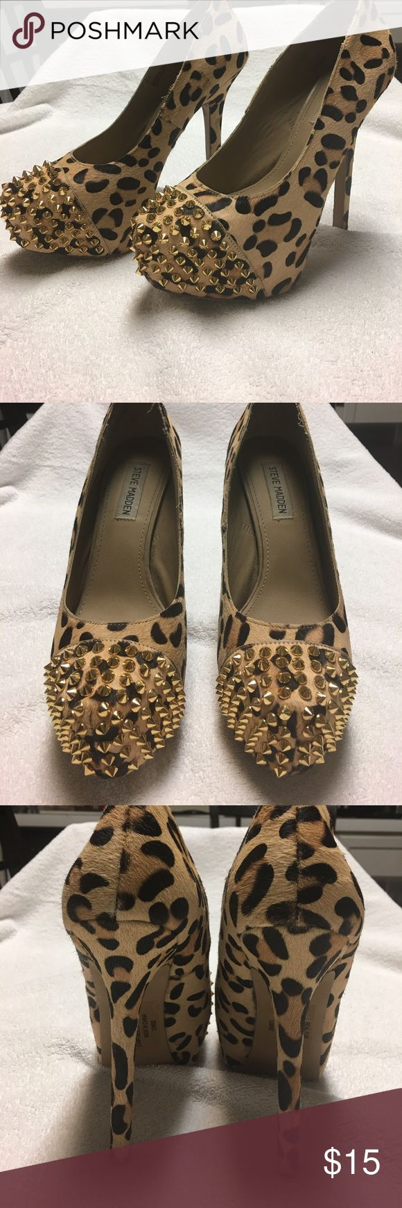 6inches cheetah heels Re-posh ,cheetah print,have been worn,re-sailing because they are to big for my feet but perfect for a person the fits a 9 Steve Madden Shoes Heels