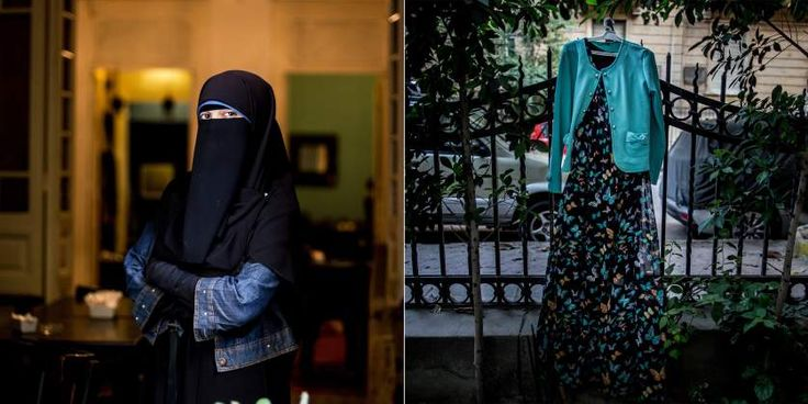 """Aleya Adel, 20. """"I love colors and wearing a niqab doesn't mean you only wear black or dark colors. I wear anything as long as it's loose-fitting and I'm covering my face.  Once I wore this dress with butterflies on it, and a man on his bicycle stopped to ask, 'Is it really Islamic to wear colors under your niqab?' Then he spat at me and went away.  For me, clothes have nothing to do with harassment. You will be harassed no matter what you are wearing."""""""