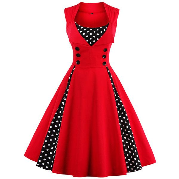 SheIn(sheinside) Contrast Polka Dot Flare Dress ($23) ❤ liked on Polyvore featuring dresses, red, red summer dress, long-sleeve skater dresses, red skater dress, midi dress and red midi dress