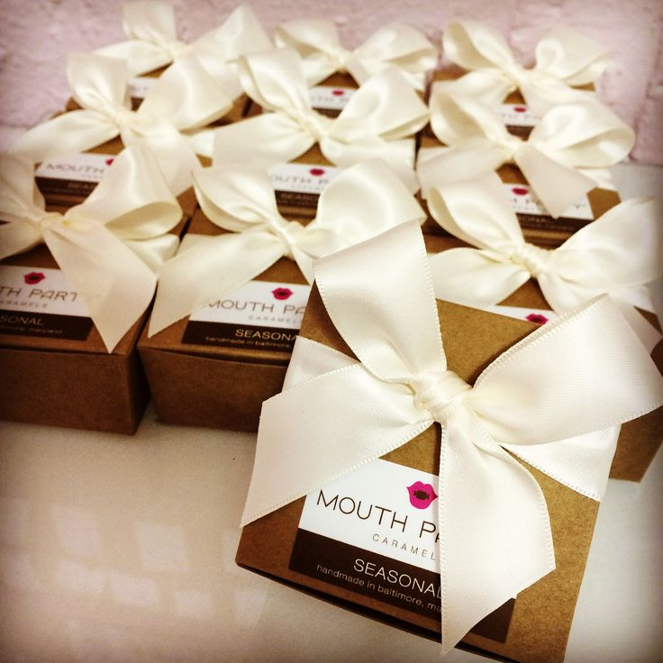 Kraft Box with Ivory Ribbon (available w/o the sticker too). Contact us for more info on custom packaging for your caramel order