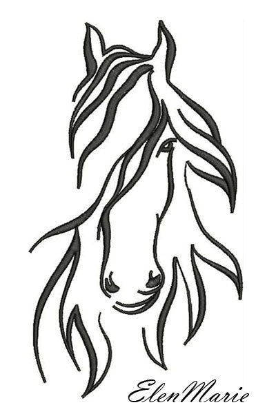 AH 010 Horse – Machine Embroidery Design, four sizes