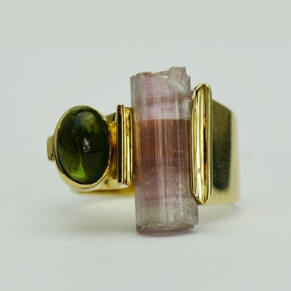 Inel din aur galben 14k cu turmalin si cuart