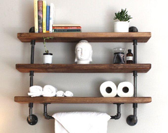 reclaimed barn wood bathroom shelves tuyauterie industrielle tag res de salle de bains et. Black Bedroom Furniture Sets. Home Design Ideas