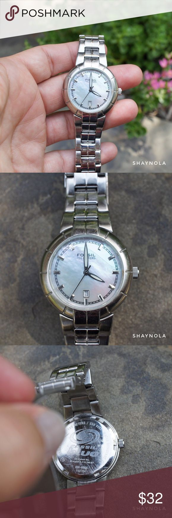 Stainless Fossil Blue Watch w Mother of Pearl Face A beautiful stainless steel fossil watch with mother of pearl face.  Fossil Blue watches are water resistant to 100 meters or 350ft. Good condition however the person that changed the battery cracked the mother of pearl face in the upper right corner. Still works but needs battery. Priced accordingly. Fossil Accessories Watches