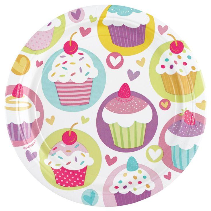 Talerzyki jednorazowe z nadrukiem ciasteczka. Doskonałe do dekoracji na przyjęcie urodzinowe dla dziewczynki.