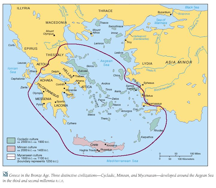 This map circles the Mycenaean territory during The Late Bronze Age (Mycenaean Age). The centers of power during that time were Mycenae, Thebes and Orchomenus in Boeotia, Athens in Attica, Pylos in Messenia, and a site near Sparta in Laconia.