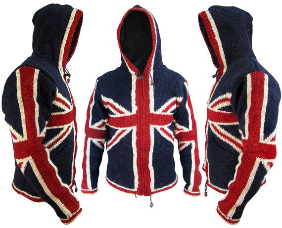 Union Jack Woolen Fleece Lined Winter Pocket Warm Nepalese Jacket Jumper Hoodie Union Flag Funky Comfy Festival Pullover Cardigan Hood