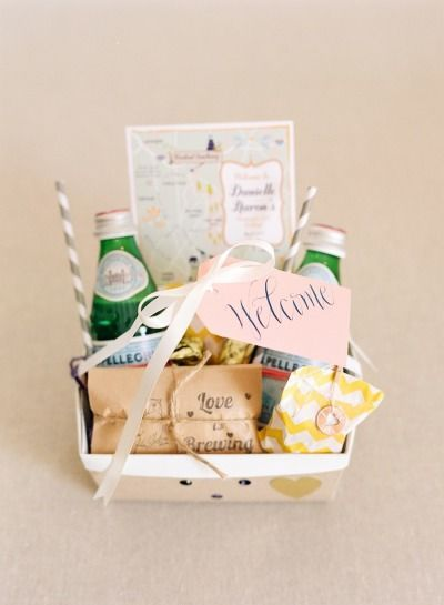 Love this idea of a pretty welcome basket for out of town guests