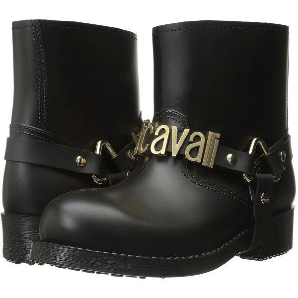 Just Cavalli Rubber Rain Boot w/ Sliding Logo (Black) Women's Rain... ($148) ❤ liked on Polyvore featuring shoes, boots, ankle boots, black, rain boots, black rain boots, bootie boots, short black boots and black wellington boots