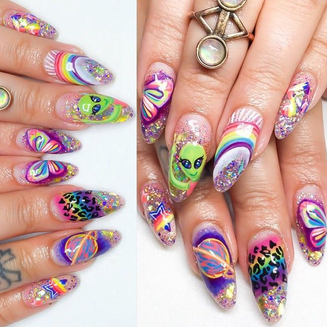 163 best encapsulated nails images on pinterest encapsulated lisa frank nails hard gel overlay with encapsulated glittermylar and hand painted prinsesfo Gallery
