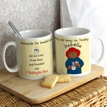 Marmalade for breakfast everyday and honey on a Sunday mug. Personalise with a name to go over Paddington's head on the front then add up to 4 lines of text on the reverse. http://www.middletonwood.co.uk/