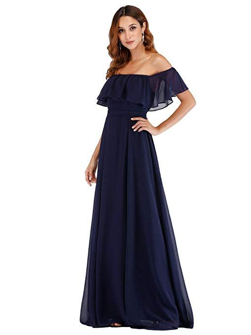 f70b94433042 Ever-Pretty Womens Off The Shoulder Ruffle Party Dresses Side Split Beach  Maxi Dress 07679