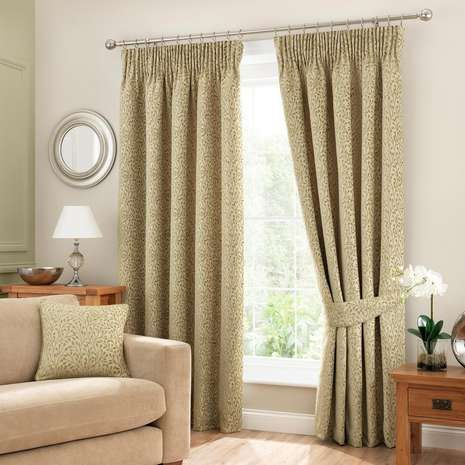 Willow Green Lined Pencil Pleat Curtains | Dunelm