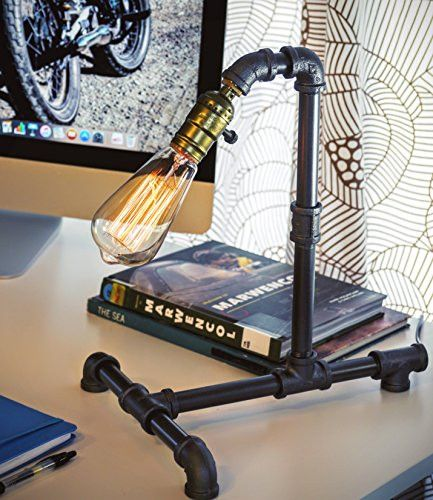 Loft Living Designer Steampunk Water Piping Desk Top Table Lamp Modern Antique Rustic Decor Steam Punk Industrial Craftsmanship Interior Design Bed Side Minimalist Victorian Edison Iron Retro Lighting