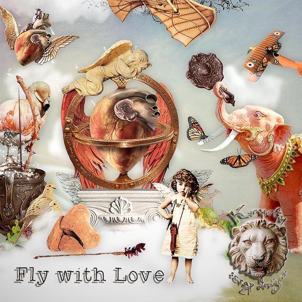 Fly with Love by Krysty Scrap Designs #digitalcollage #digital #art #photomanipulation #artjournaling #scrapbook #love #valentineday #valemtine #vintage