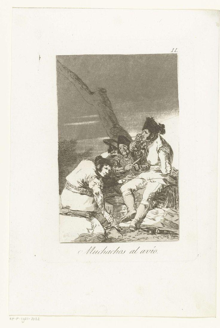 Francisco José de Goya y Lucientes | Mannen maken zich gereed, Francisco José de Goya y Lucientes, 1797 - 1799 | Vier smokkelaars zitten bij een boom te wachten. Elfde prent uit de serie Los Caprichos.