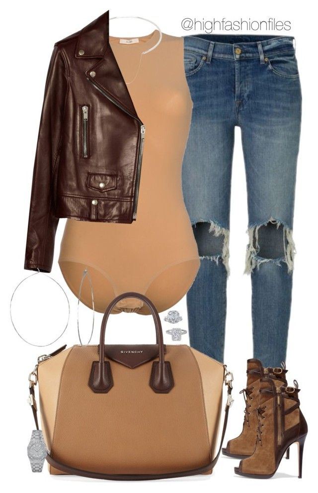 """Leather Weather"" by highfashionfiles ❤ liked on Polyvore featuring CÉLINE, Givenchy, Oscar de la Renta, Maison Margiela, Yves Saint Laurent, Phyllis + Rosie and Audemars Piguet"