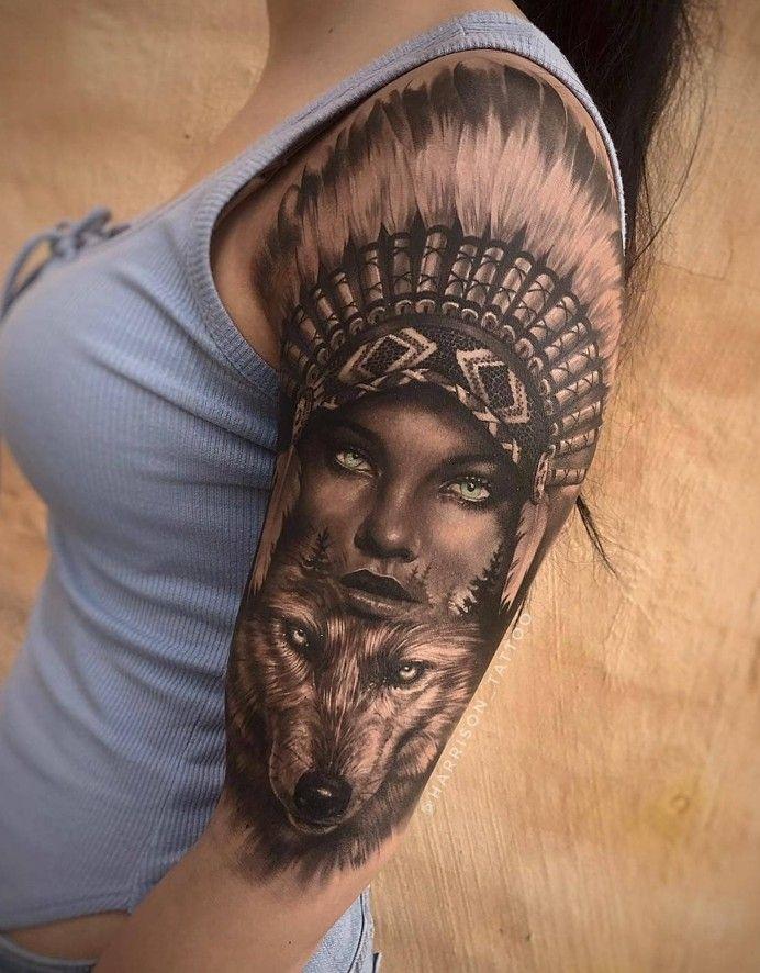 Zdorodz Indian Girl Tattoos Wolf Tattoo Sleeve Native Tattoos