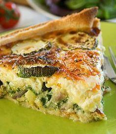 Préchauffez le four à 210°C.Beurrez un moule à tarte. Etalez la pâte brisée et garnissez-en le moule. Gardez ce fond de tarte au réfrigérateur le temps de préparer la garniture.Emincez les échalotes. Faites-les revenir dans un peu de beurre sans les colorer, salez et poivrez, retirez du feu.Râpez les courgettes sans les peler, salez et poivrez puis ajoutez les échalotes. Répartissez ce mélange sur la pâte à tarte.Cassez les oeufs dans un bol, ajoutez la crème fraîche, du sel, du poivre et de…