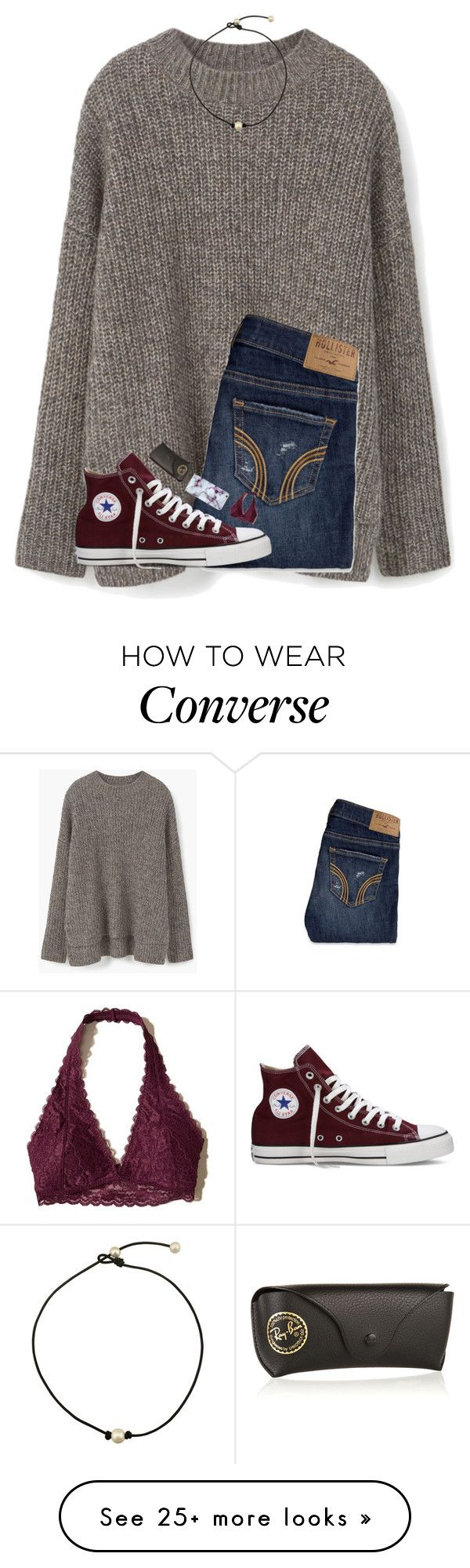 """going shopping✌(again)"" by hgw8503 on Polyvore featuring MANGO, Hollister Co., Converse and Ray-Ban"