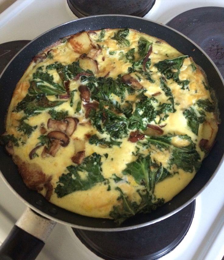 Kale, mushroom, red onion  and potato frittata
