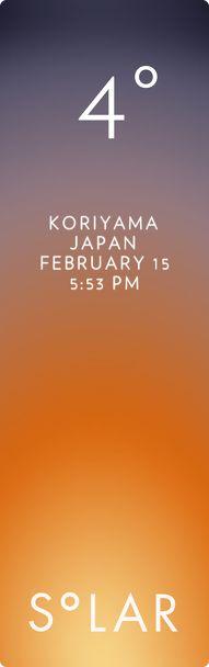 Koriyama weather has never been cooler. Solar for iOS.