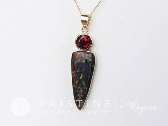 Australian Matrix Opal Pendant with Rhodolite Garnet in 14k Yellow Gold #Australian_Opal #christmas_gift #fine_jewelry