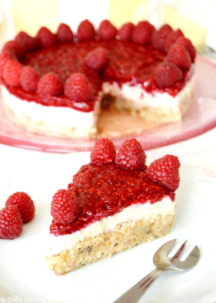 Cheesecake vegan à la framboise (sans gluten, sans lactose, sans sucre ajouté)