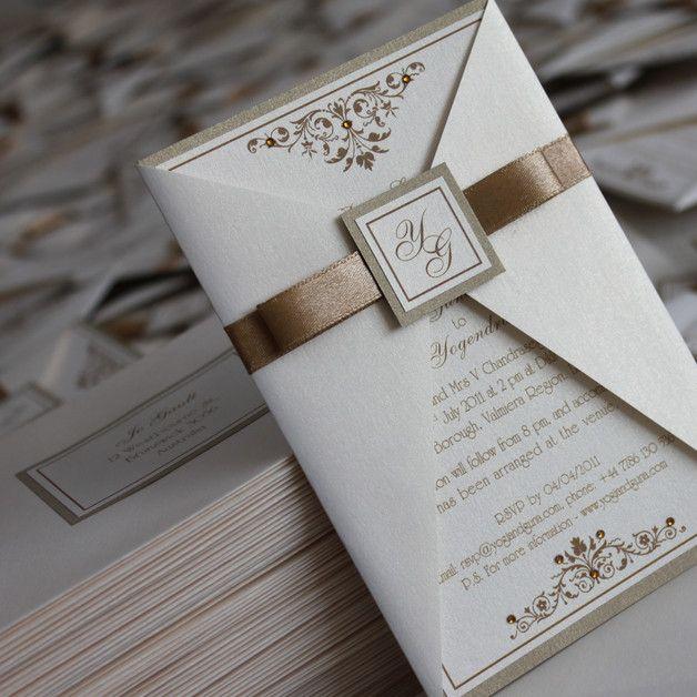 Hochzeitseinladung Hochzeit Einladung Zur Hochzeit Romantisch  Hochzeitskarte Einladungskarte Karte Hochzeits Einladung Handgefertigt Weiß  Einladungen Gold ...