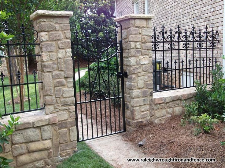 Wrought iron fence brick images for Brick and wrought iron fence designs