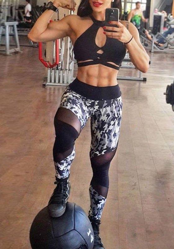 Schwarz Camouflage Mesh Schlank Stretch Yoga Sports Fitness Leggings High Waist Hosen Damen