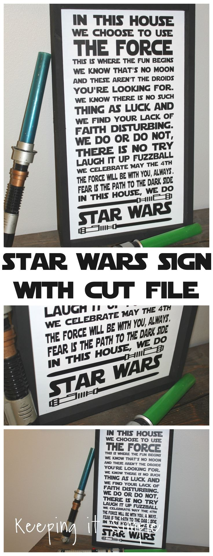 This epic Star Wars sign is perfect for any Star Wars fan! Free SVG cut file, so you can make it a sign, canvas or just put it up on the wall.
