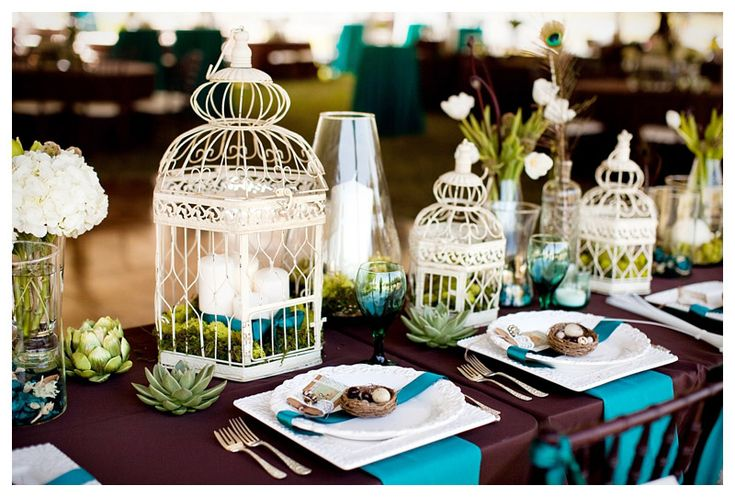 Katelyn James' wedding. adorable bird cages.